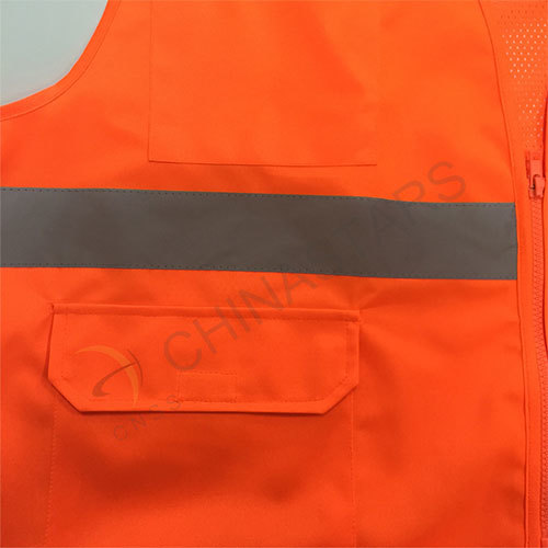 EN ISO 20471 orange safety vest with mesh fabric
