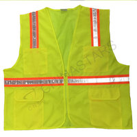 Yellow mesh safety vest with prismatic tape
