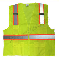 Yellow mesh safety vest with warning stripe