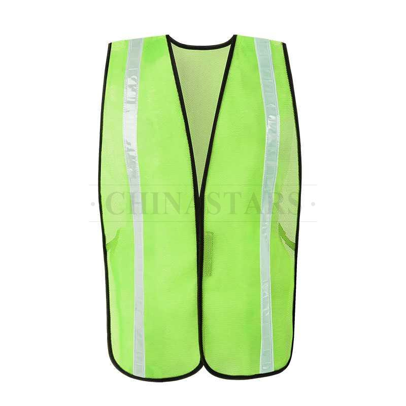 Mesh reflective safety vest with hook and loop closure