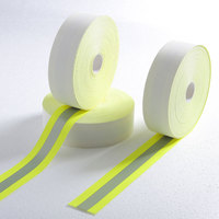 Flame retardant reflective tape yellow-silver-yellow