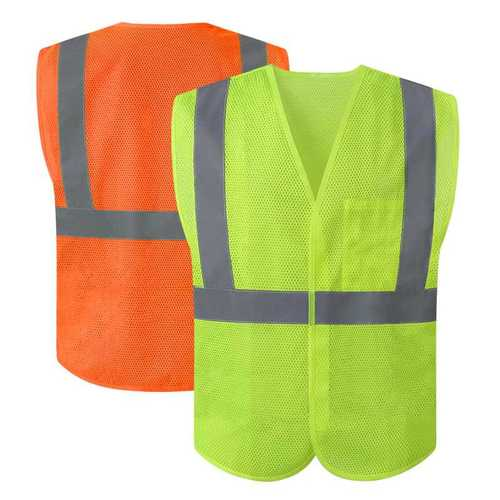 Fluorescent yellow mesh safety vest with reflective tape