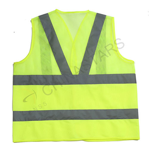 Mesh and solid  safety vest with reflective tape