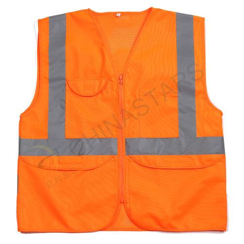Orange mesh and solid reflective safety vest