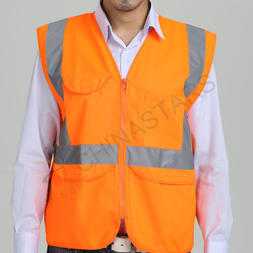 Orange mesh and solid reflective safety vest