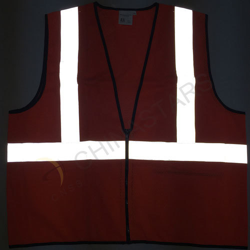 Orange reflective safety vest with mesh fabric