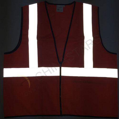 Orange reflective safety vest with mesh fabric