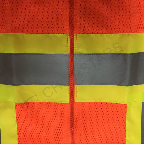 Mesh fabric safety vest with color fabric