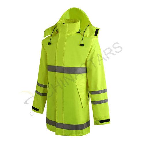 Enhanced visibility reflective raincoat