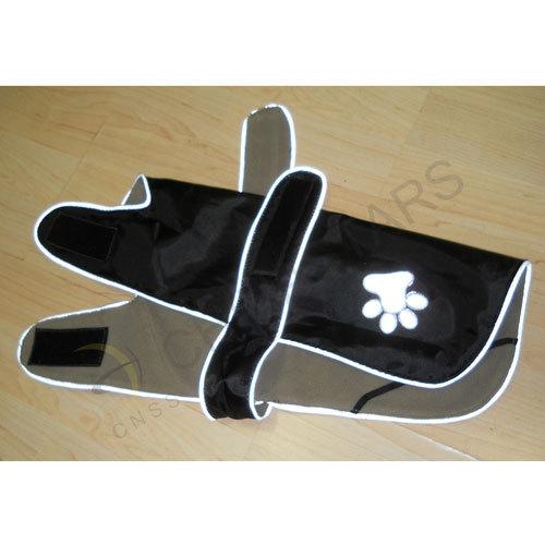 Black pets safety vest with paw print pattern