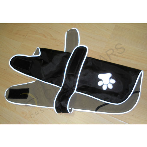 Black pets safety vest with paw print pattern