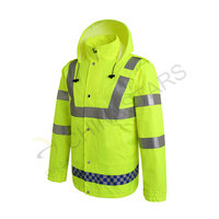 HIghly reflective raincoat with elastic waistband