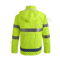 HIghly reflective raincoat with elastic waistband