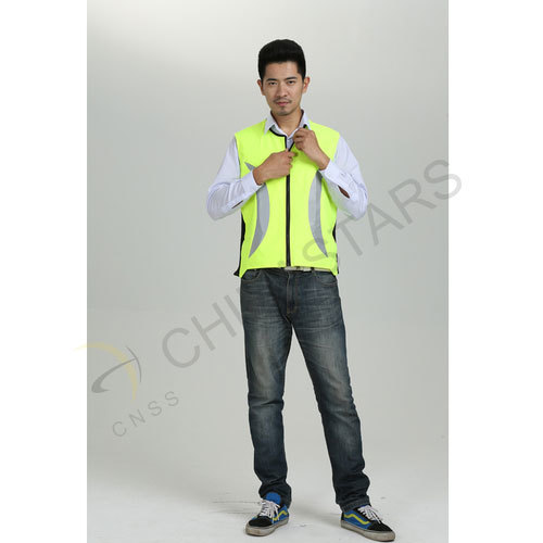 Safety vest with crescent-shaped reflective fabric