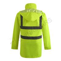 Weatherproof reflective raincoat with mesh lining
