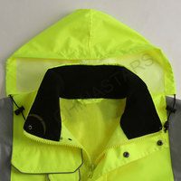 Fluorescent yellow raincoat with multi-pockets