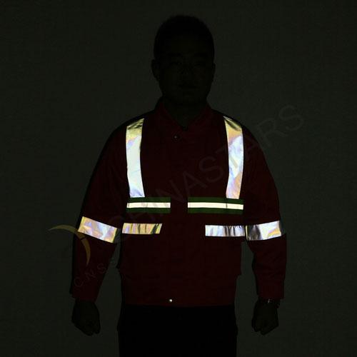 Reflective jacket in fluorescent orange
