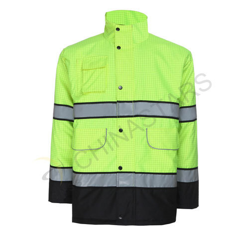 Green plaid reflective jacket with inner pocket