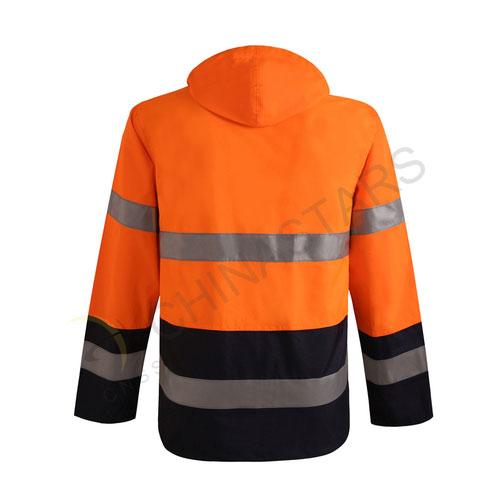 Fluorescent orange reflective raincoat in two-tone