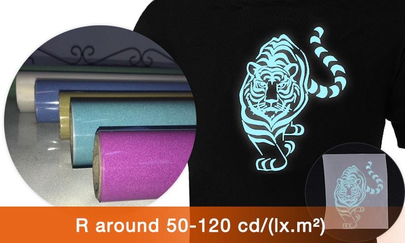 High brightness color reflective heat transfer vinyl