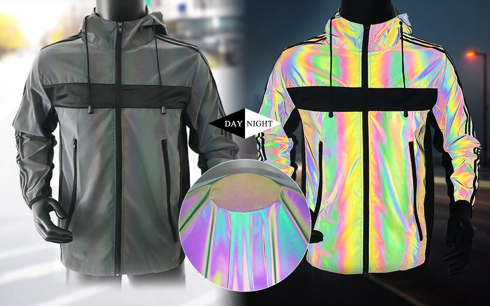 rainbow reflective fabric