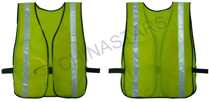 yellow reflective vest with PVC tape