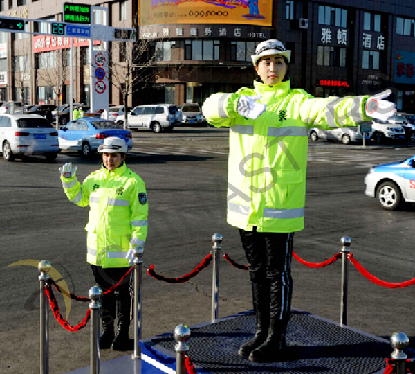 Traffic policewomen with reflective jacket in Jilin province