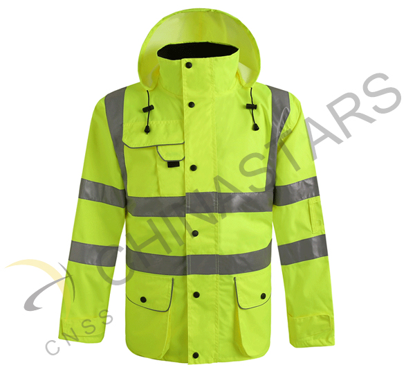 Sanitation workers wear reflective clothing