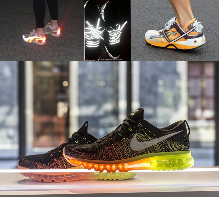 Shoes with reflective strips for you safety