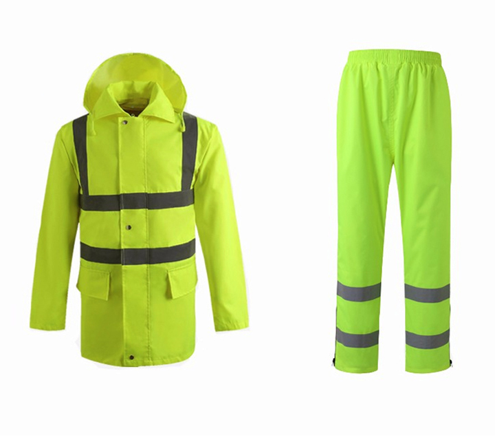 New design fluorescent yellow raincoat for Police