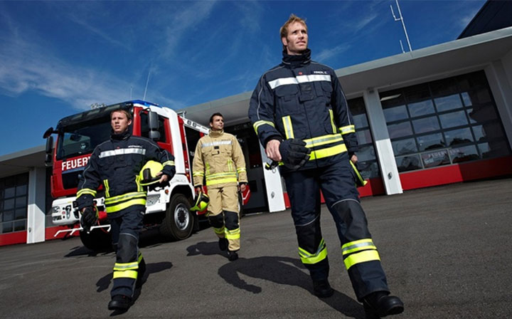 Firefighters in safety clothing always appear in time