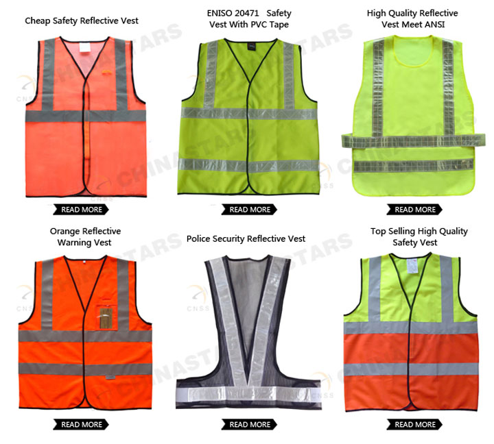 Different kinds of reflective safety clothing