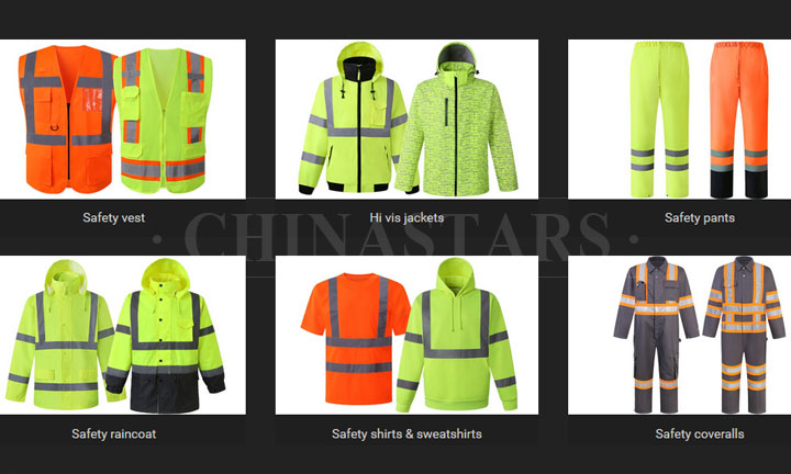 The assortment of reflective safety clothing