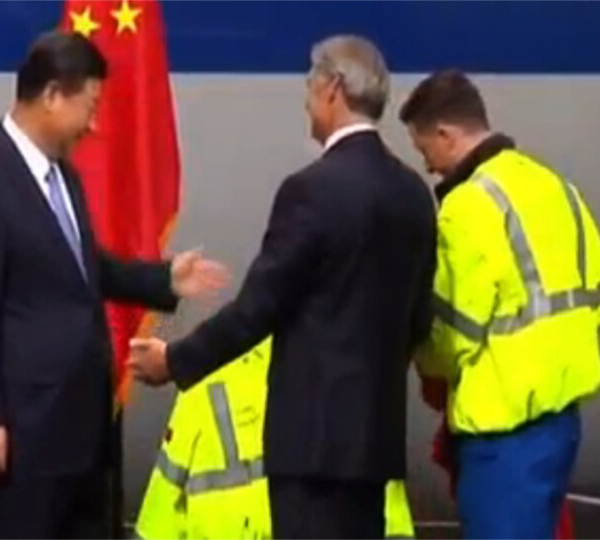 President Xi got a reflective jacket from the Boeing Company