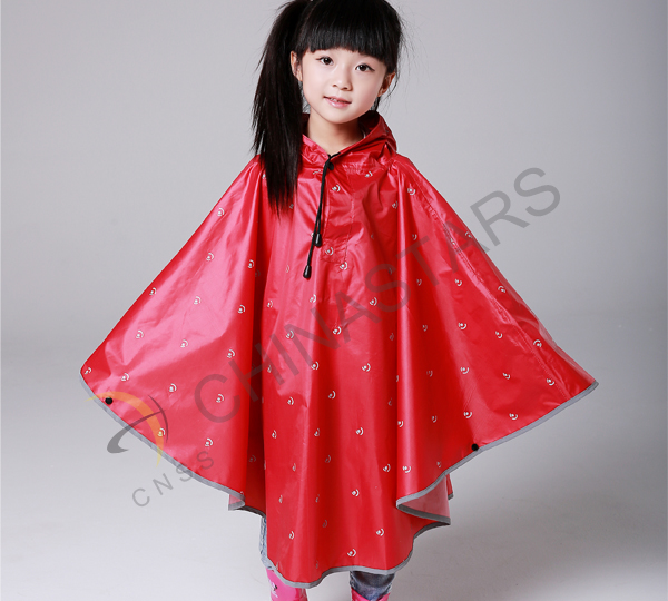Fashion children raincoat with reflective tape