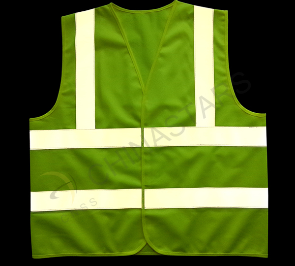 Reflective tape on safety vest dazzle in darkness