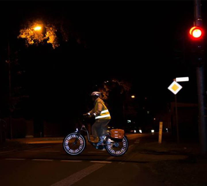 Night riding with reflective clothing