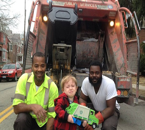 Sanitation workers in safety vest as hero